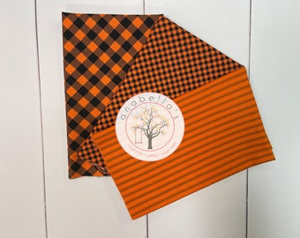 BellaBundle™ - Priscilla's Pretty Plaids, Chelsea's Checks & NEW Stripes 3 ORANGE Fat QUARTERS ~  Henry Glass Fabrics