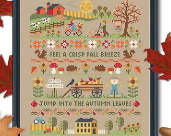 Tiny Modernist AUTUMN BAND SAMPLER Cross Stitch Pattern - Autumn Cross Stitch