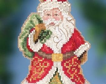 Mill Hill 2020 GIFT BEARING SANTA Cross Stitch Kit - Christmas Cross Stitch Kit