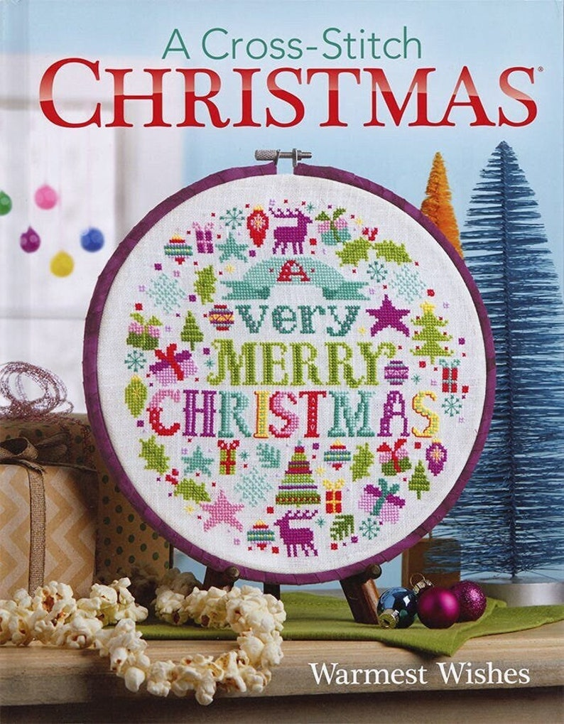 A Cross Stitch CHRISTMAS WARMEST WISHES Book  Hand Crafted image 1