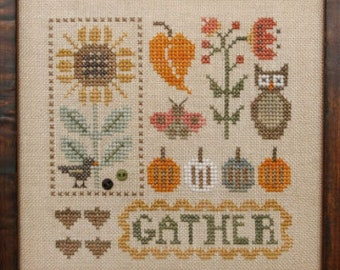 Heart in Hand DOODLES AUTUMN Cross Stitch Pattern ~ Fall 2021 Needlework Expo  - Includes Embellishments