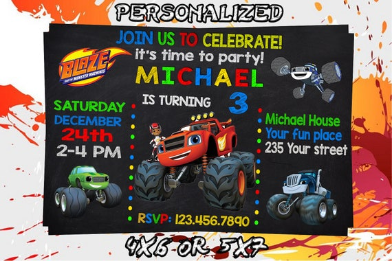 Blaze Birthday Invitation Printable