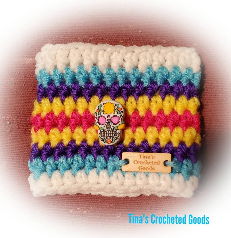 Sugar skull day of the dead cup cozie image 0