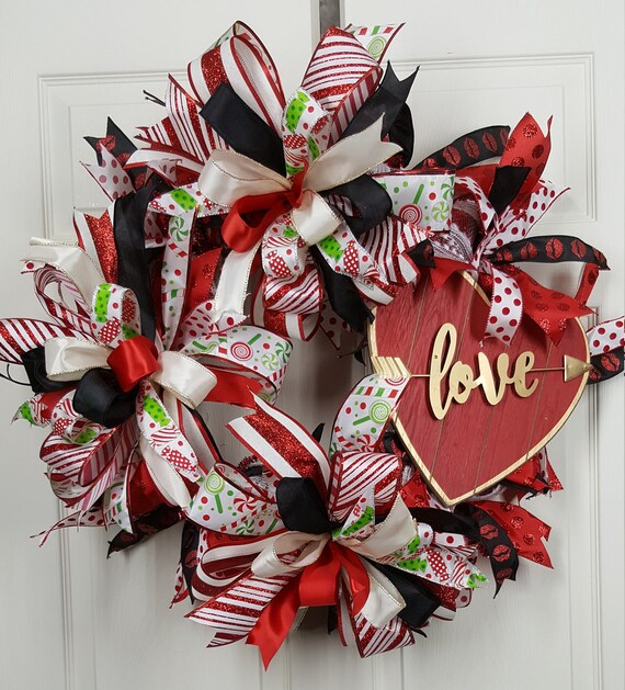 Valentines Day Door Wreath Valentines Day Decoration Etsy