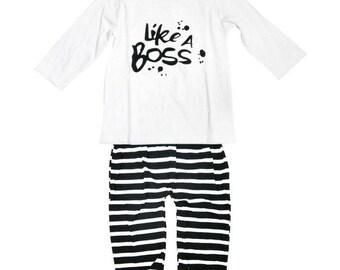 2018 Happy New Year Baby Mädchen Kleidung Set Bogen süßen Kindern Hose und Tshirt-Tuch