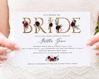 bridal shower invitation instant download editable bridal shower invite template diy template editable pdf simple modern matilda