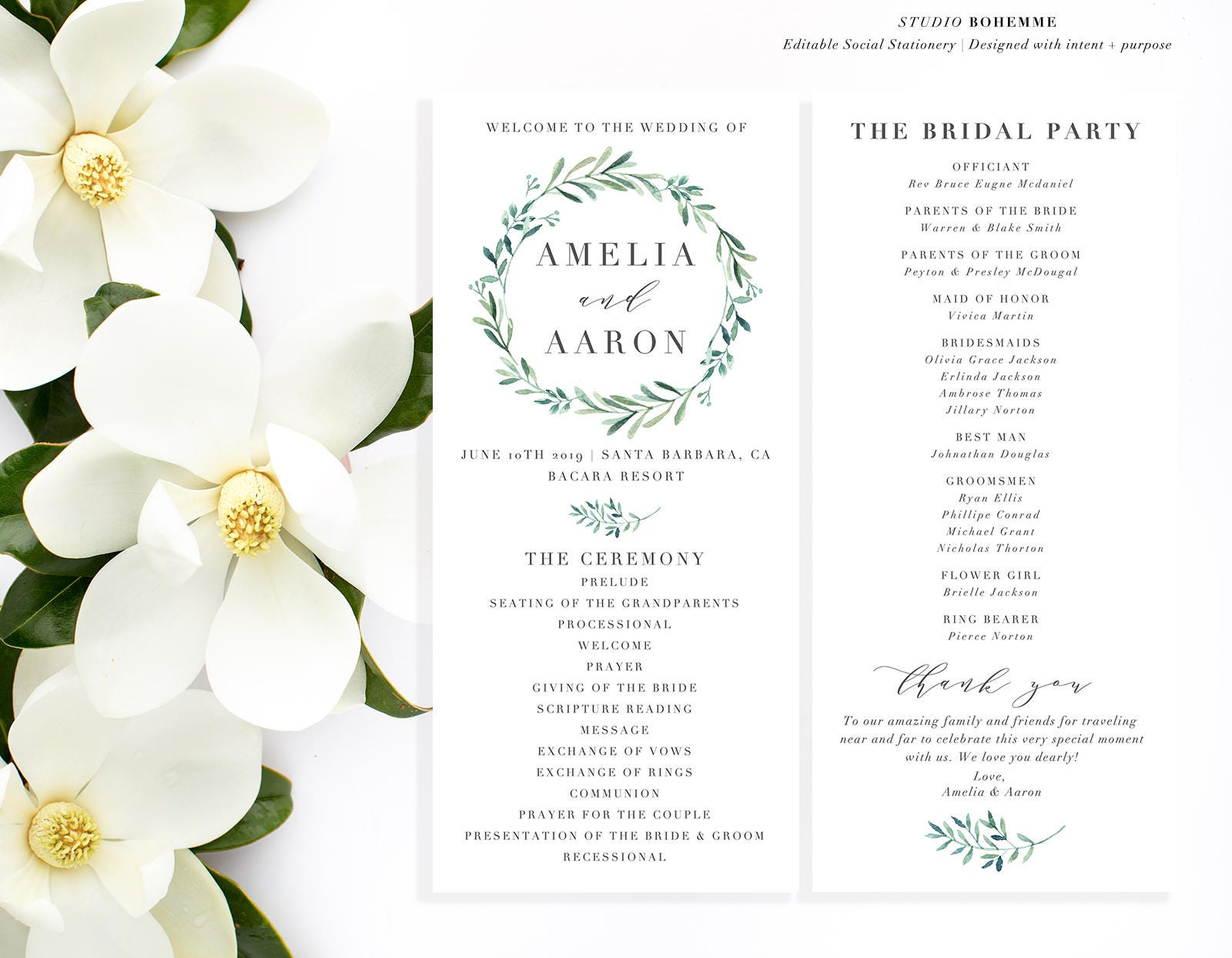 Wedding program template printable programs editable wedding zoom izmirmasajfo