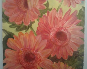 Red Sunflowers Watercolor Painting
