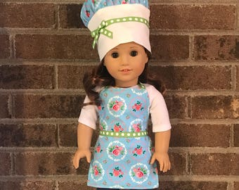 "18"" Doll Apron and Chef Hat (fits American Girl dolls)"