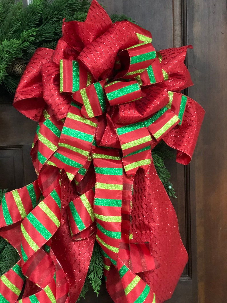 Red and Green Tree Topper Bow Whimsical Tree Bow Christmas Bow with Streamers