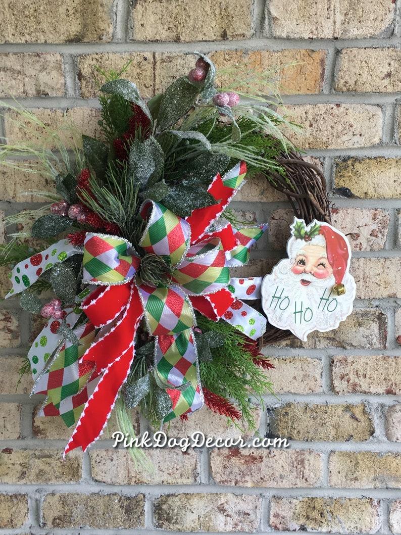 Santa Claus Wreath Santa Door Decoration Christmas Wreaths and Swags Whimsical Christmas Wreath Santa Wreath Santa Door Hanger
