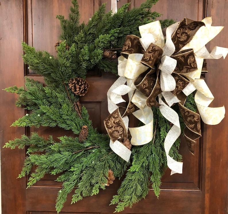 Christmas Mailbox bow Elegant Christmas Wreath Bow Holiday Lantern Topper