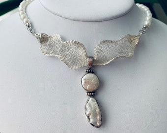OOAK Mother of pearl pendant choker,Handmade bridal necklace,Italian mesh necklace,Wedding jewelry,Marcasite,Unique design pearl necklace