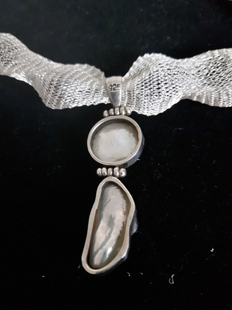 OOAK Mother of pearl pendant silver necklace,Titanium ribbon pearl necklace,925 silver bridesmaid necklace,Wedding jewelry,Bridal choker