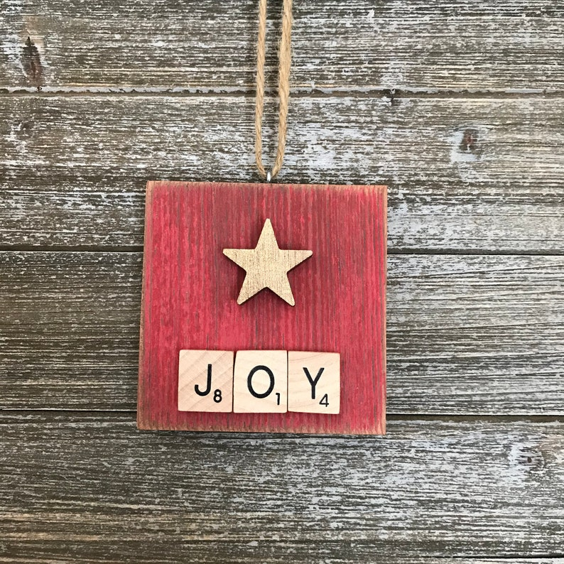 Rustic Joy Scrabble Tile Ornament