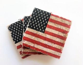 54242799a9ac Set of 4 American Flag Stone Coasters