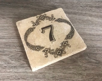 Stone Wedding Table Marker, Wedding Table Coaster, Wedding Table Number Marker, Stone Table Marker, Tile Wedding Table Number