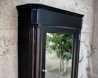 Ludwig Medicine Cabinet / Antique Black Finish / Surface Mount / Solid Wood  And Handcrafted.