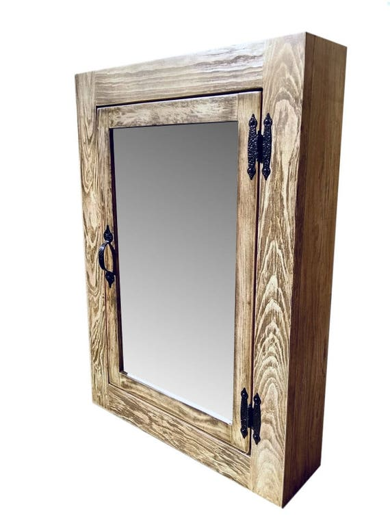 low priced bbfe7 7b0a3 Solid Wood Whitewash Rustic Medicine Cabinet / Surface Mount / Handmade