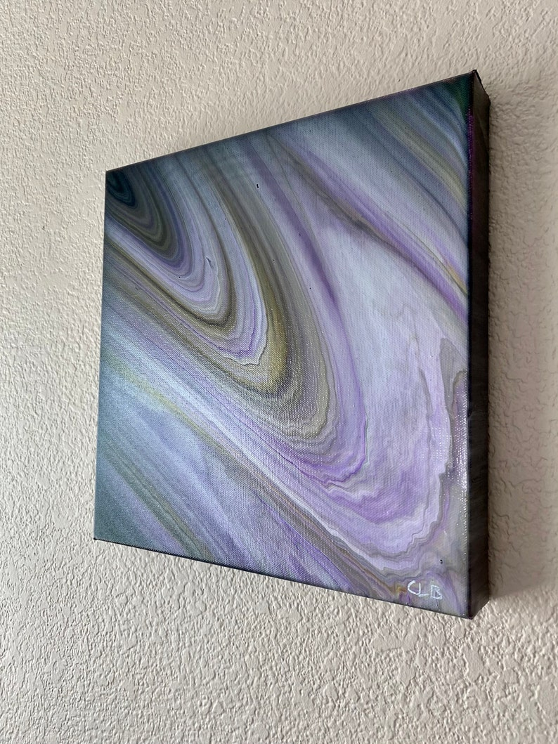 Abstract Acrylic Pour Painting on 12x12x1.5 Canvas Acrylic Pour wpurples and blacks Title Teramo