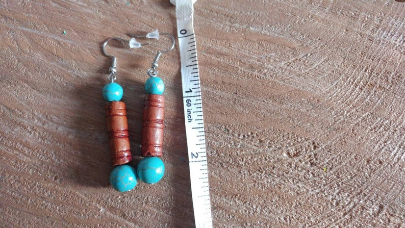 Stone And Wood Boho Drop Earrings