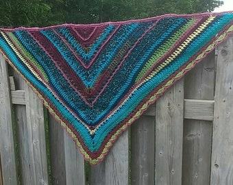 Gypsy shawl, Boho shawl, crochet shawl, triangle scarf, shawl, hobo shawl, shabby shawl, crochet wrap, colorful shawl