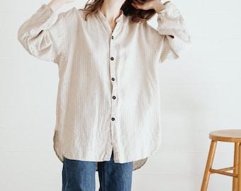 Vintage FLAX Brand Pinstripe Linen Shirt // Jeanne Engelhart Oatmeal Linen Work Shirt // Artist's Smock // S M L