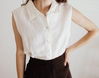 Vintage Textured Linen and Cotton Sleeveless Blouse // 90s Beige Sleeveless Shirt // M L