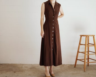 Brown Silk Shirtdress // Sleeveless Silk Button Front Midi Dress // Ankle Length Minimalist Silk // XS S