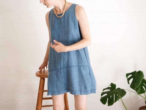 Vintage 90s Linen Mini Dress // Blue Linen Trapeze