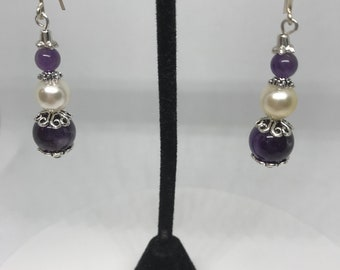 Pearl and Amethyst with sterling silver earwire