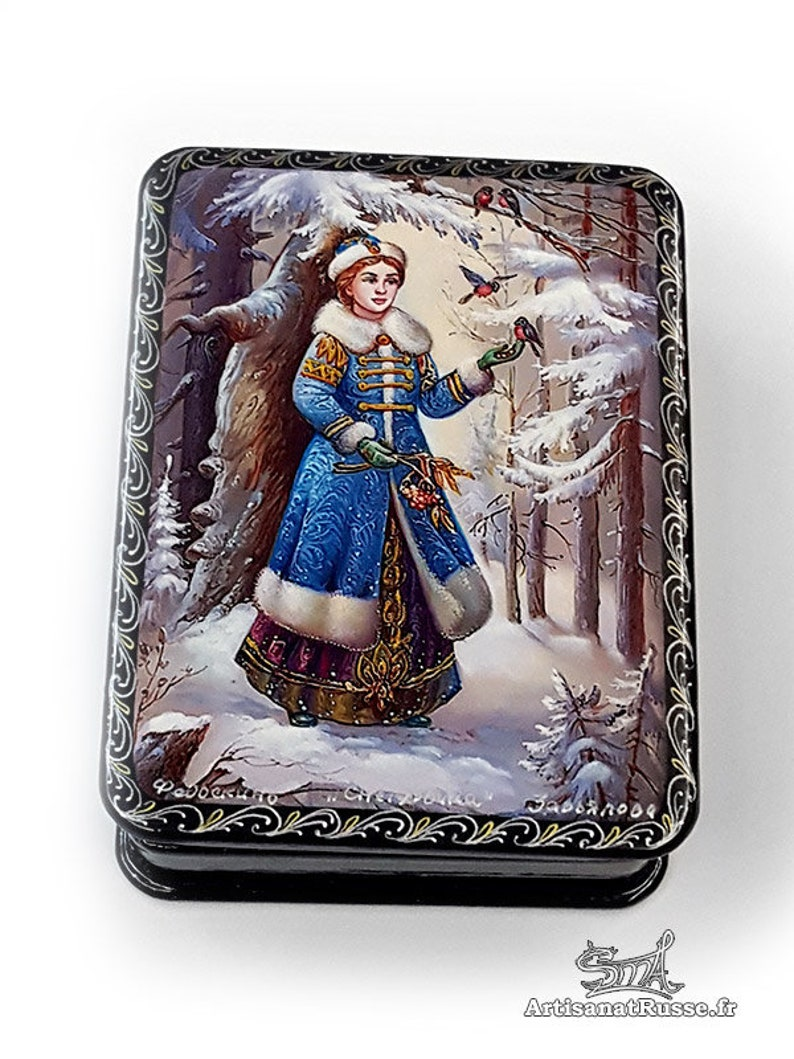 Boxes lacquered Russian collection. Paper mache. Snow girl. image 0