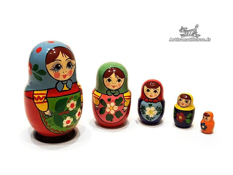 Matryoshka doll Russian dolls nesting Vintage 5 pieces. Blue image 0
