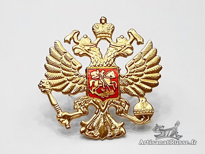 Russian military badge. Two-headed eagle REF: 10.30-1 image 0