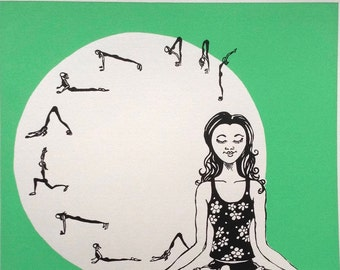 Pause - Screen Printed Poster, Yoga, Meditation