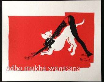 Adho Mukha Svanasana (Down Dog) Hand Screened Print