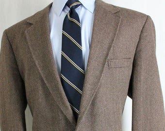 """Vintage 44R """"Tailored Clothing"""" Brown Herringbone Tweed Sport Coat Blazer Jacket"""