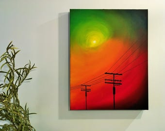 Original Oil Painting on Canvas, Bright Colors & High Contrast Modern Urban Art