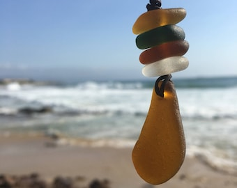 Rockpool sea glass stack necklace