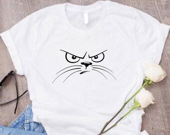 Mean Cat Shirt/ Cat Face Shirt/ Cute Cat Shirts For Women/ Kawaii Cat T Shirt/ Tumblr Shirt Crazy Cat Lady Shirt/ Cat Tshirt Cat Lover Shirt