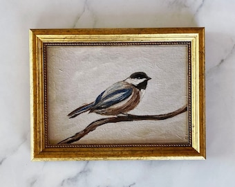 EARLY BIRD Art Print - Chickadee Oil Painting Print - Small Bird Oil Painting - Little Bird Oil Painting - Chickadee Original Oil Art Print