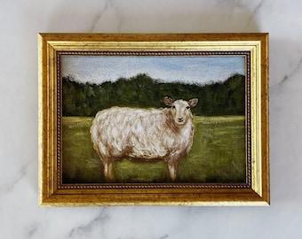 WOOLY Art Print - Sheep Oil Painting Print - Small Sheep Oil Painting - Ewe Oil Painting - Countryside Original Oil Art Painting - Farm Art