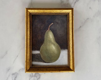PEAR #3 Art Print - Unframed Oil Painting - Oil Painting Still Life Original - Small Still Life Painting -  Kitchen Art Print  - Fruit Art