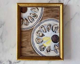 BON APPETIT Art Print - Unframed Oil Painting Print - Oil Painting Still Life - Oyster Oil Painting - French Kitchen Art - Restaurant Art