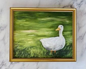 LOUISE Art Print - Duck Original Oil Painting Print - Countryside Oil Painting Print - Cottage Painting - Farm Animal Original Art Painting