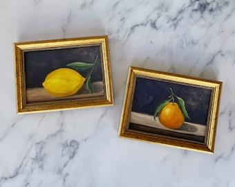 MOODY STILL LIFE Bundle - Oil Painting Print - Still Life Original Art - Small Still Life Painting -  Lemon Art - Fruit painting Bundle