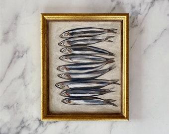 SARDINES Art Print - Unframed Oil Painting Print - Oil Painting Still Life - Sardine Oil Painting - French Kitchen Art - Restaurant Art