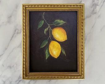 LEMON #5 Art Print  - Unframed Print - Oil Print Still Life Original - Small Still Life Painting Print-  Lemon Art Print - Fruit Art Print