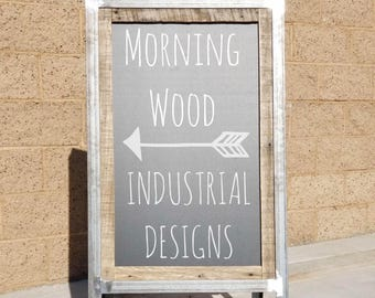 Single Sided Industrial Chalkboard Sign with Reclaimed Wood