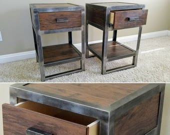 Industrial Style Nightstand Single Drawer